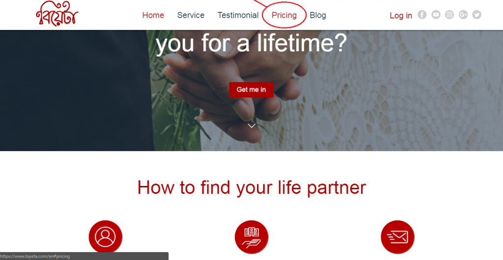 Pricing plan Biyeta find matches of brides and grooms